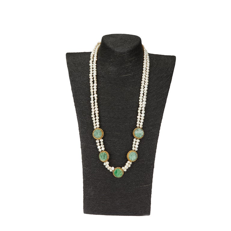 Long beaded necklace with white pearls and antiques Chinese carved jade 1920. length 65 cm approximately. The necklace could be wear with the jade elements by side as well. All Giulia Colussi jewelry is new and has never been previously owned or