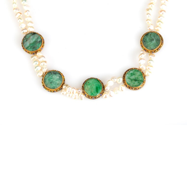 Artist Pearl and Jade Necklace For Sale