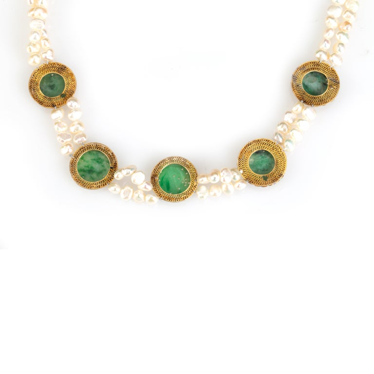 Pearl and Jade Necklace In New Condition For Sale In Milan, IT