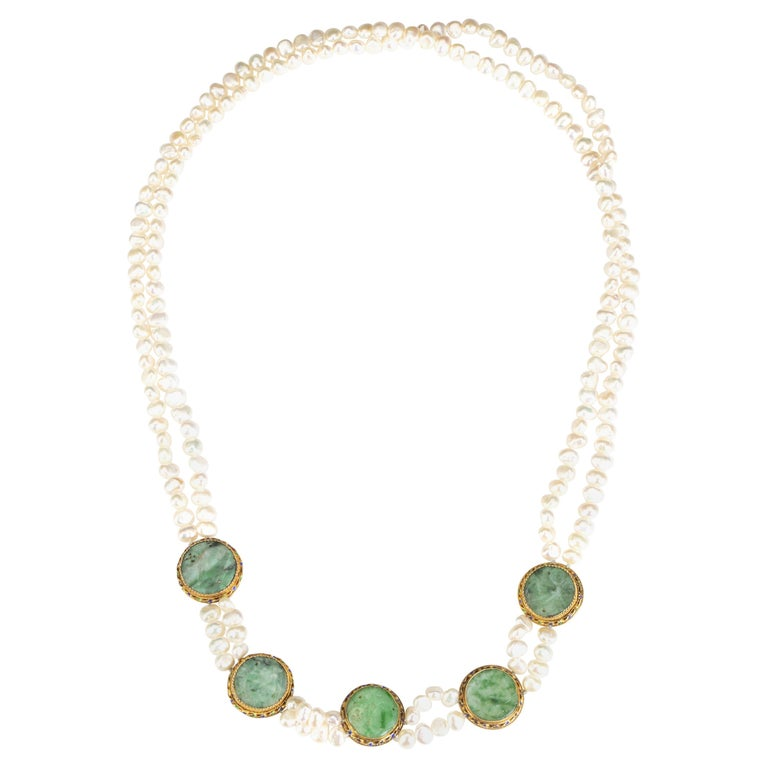 Pearl and Jade Necklace For Sale