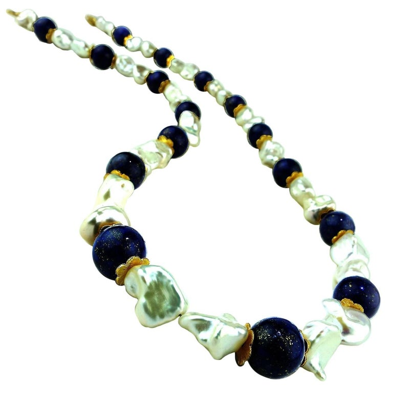 Women's Gemjunky Keshi Pearl and Lapis Lazuli Necklace June Birthstone For Sale