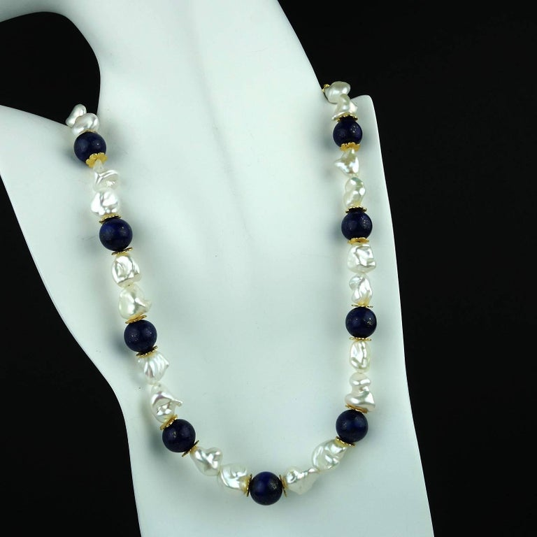 Gemjunky Keshi Pearl and Lapis Lazuli Necklace June Birthstone For Sale 1