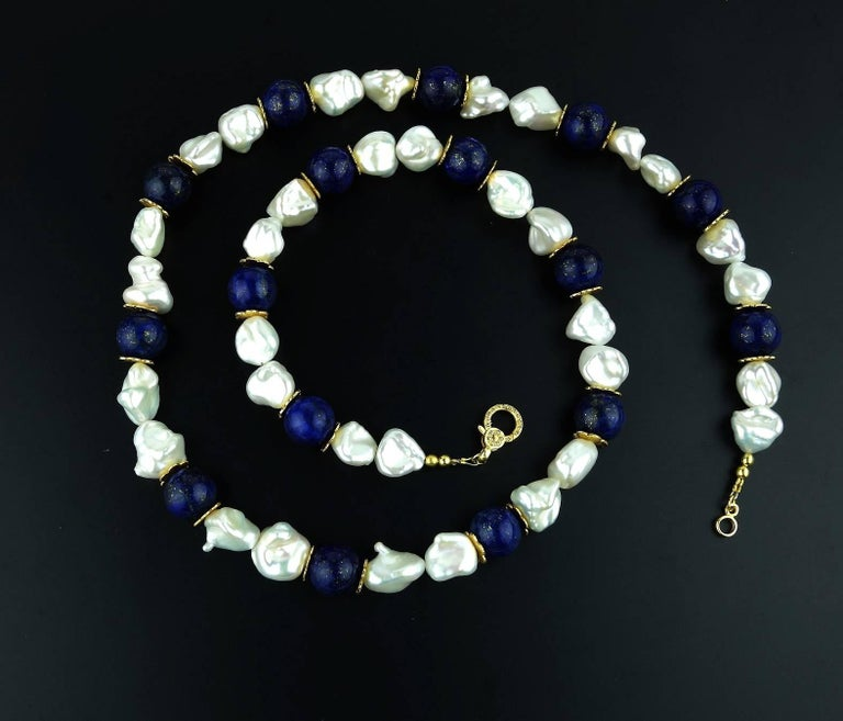Gemjunky Keshi Pearl and Lapis Lazuli Necklace June Birthstone In New Condition For Sale In Tuxedo Park , NY