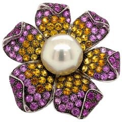 Pearl and Multi-Color Sapphire Floral Ring 18 Karat White Gold