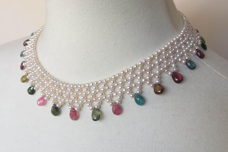 Artist Marina J Pearl and Multi-Color Tourmaline Woven Necklace with Vintage 14 K Gold  For Sale