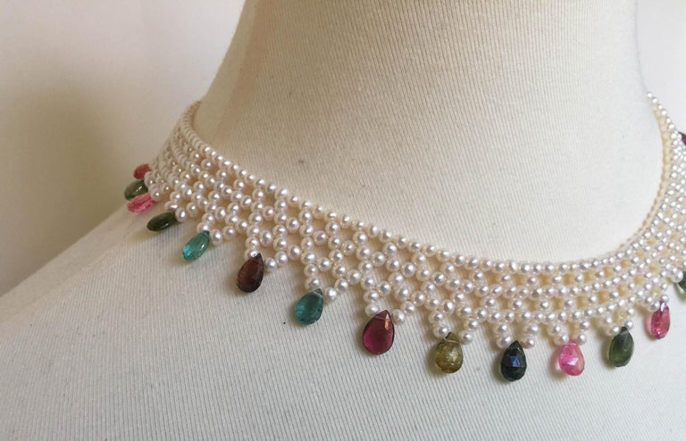 Bead Marina J Pearl and Multi-Color Tourmaline Woven Necklace with Vintage 14 K Gold  For Sale
