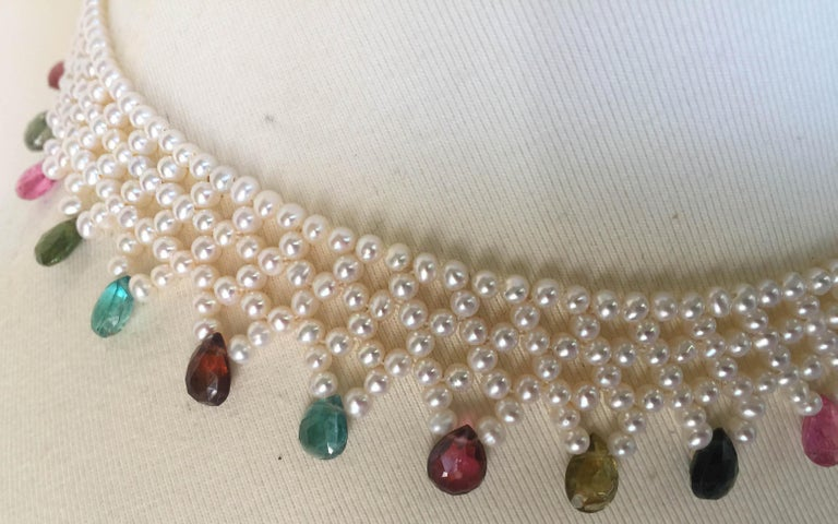 Marina J Pearl and Multi-Color Tourmaline Woven Necklace with Vintage 14 K Gold  In New Condition For Sale In Beverly Hills, CA