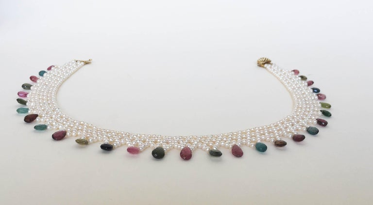 Marina J Pearl and Multi-Color Tourmaline Woven Necklace with Vintage 14 K Gold  For Sale 1