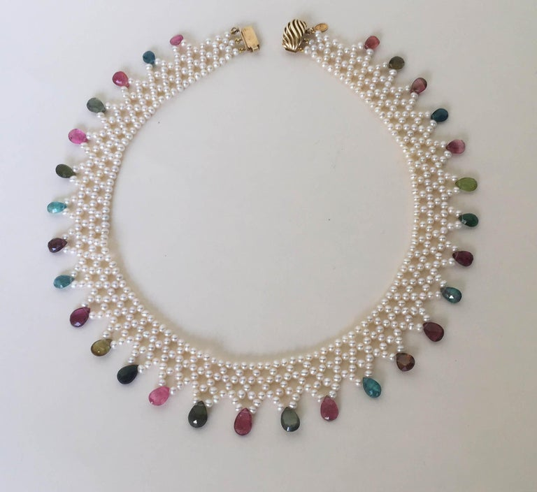 Marina J Pearl and Multi-Color Tourmaline Woven Necklace with Vintage 14 K Gold  For Sale 2