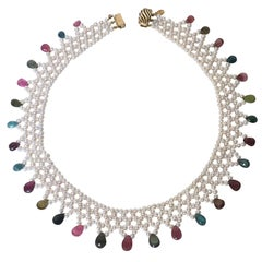 Pearl and Multi-Color Tourmaline Woven Necklace with Vintage 14 Karat Gold Clasp