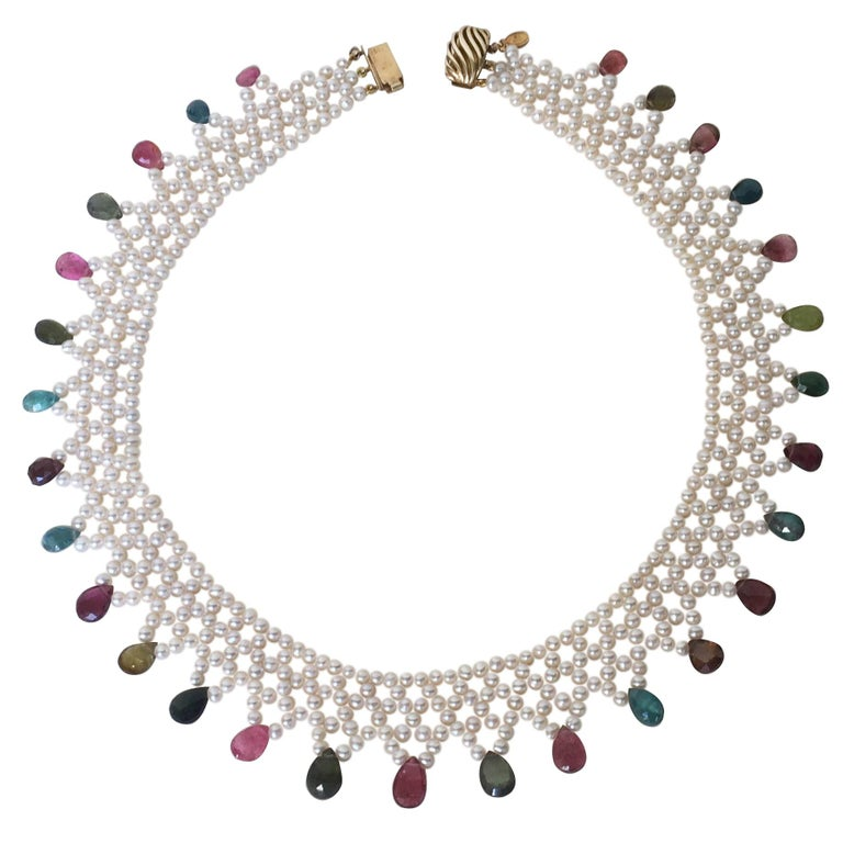 Marina J Pearl and Multi-Color Tourmaline Woven Necklace with Vintage 14 K Gold  For Sale