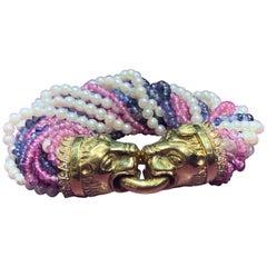 Pearl and Multi Gem Torsade Bracelet