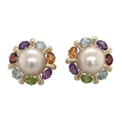 Pearl and Multi Gemstone Yellow Gold Earrings 14 Karat