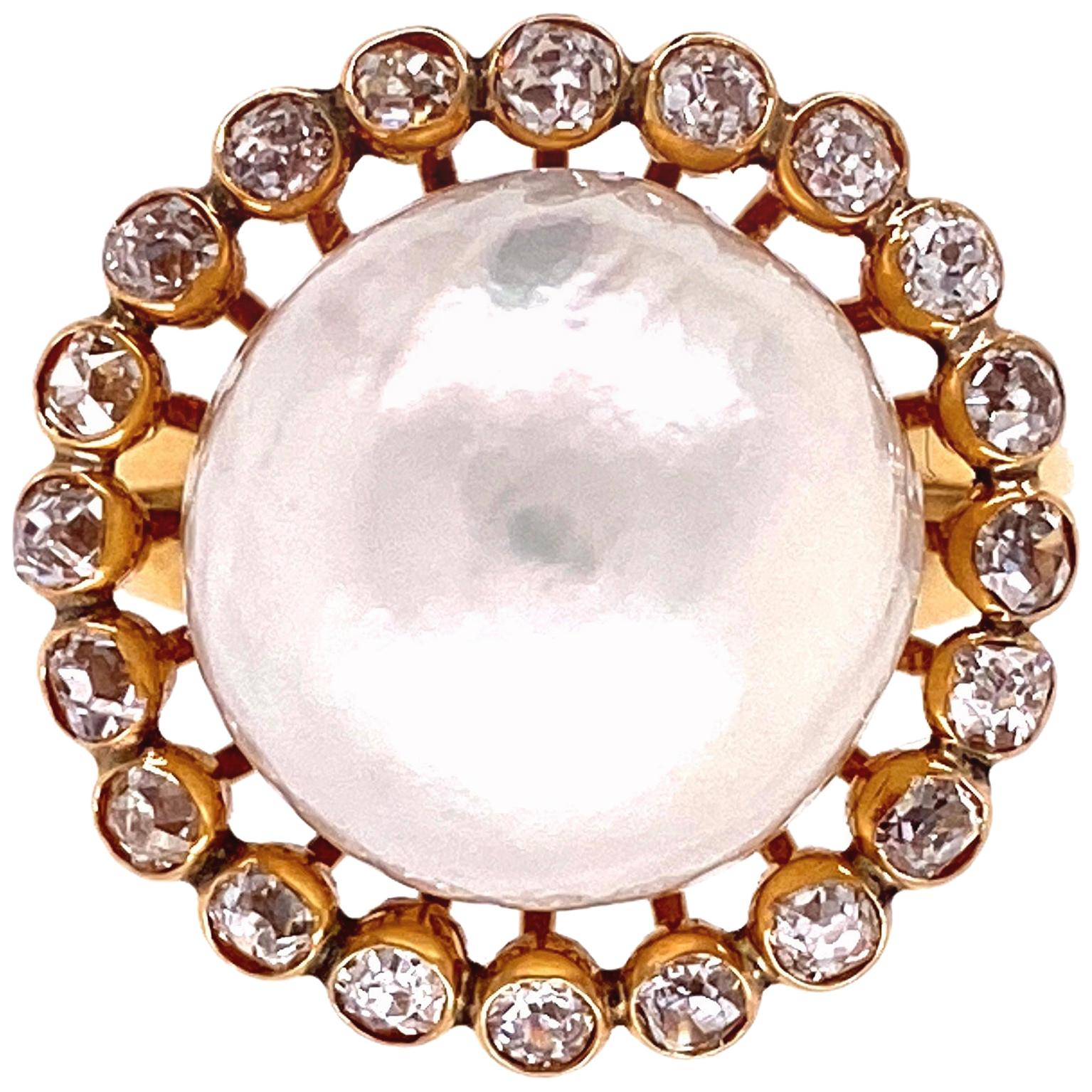 Pearl and Old European Diamond Victorian Gold Ring Estate Fine Jewelry