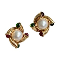 Pearl and Red and Green Tourmaline 14 Karat Yellow Gold Clip-On Post Earrings