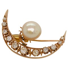 Pearl and Rose Cut Diamond Crescent Moon Brooch Victorian Circa 1885