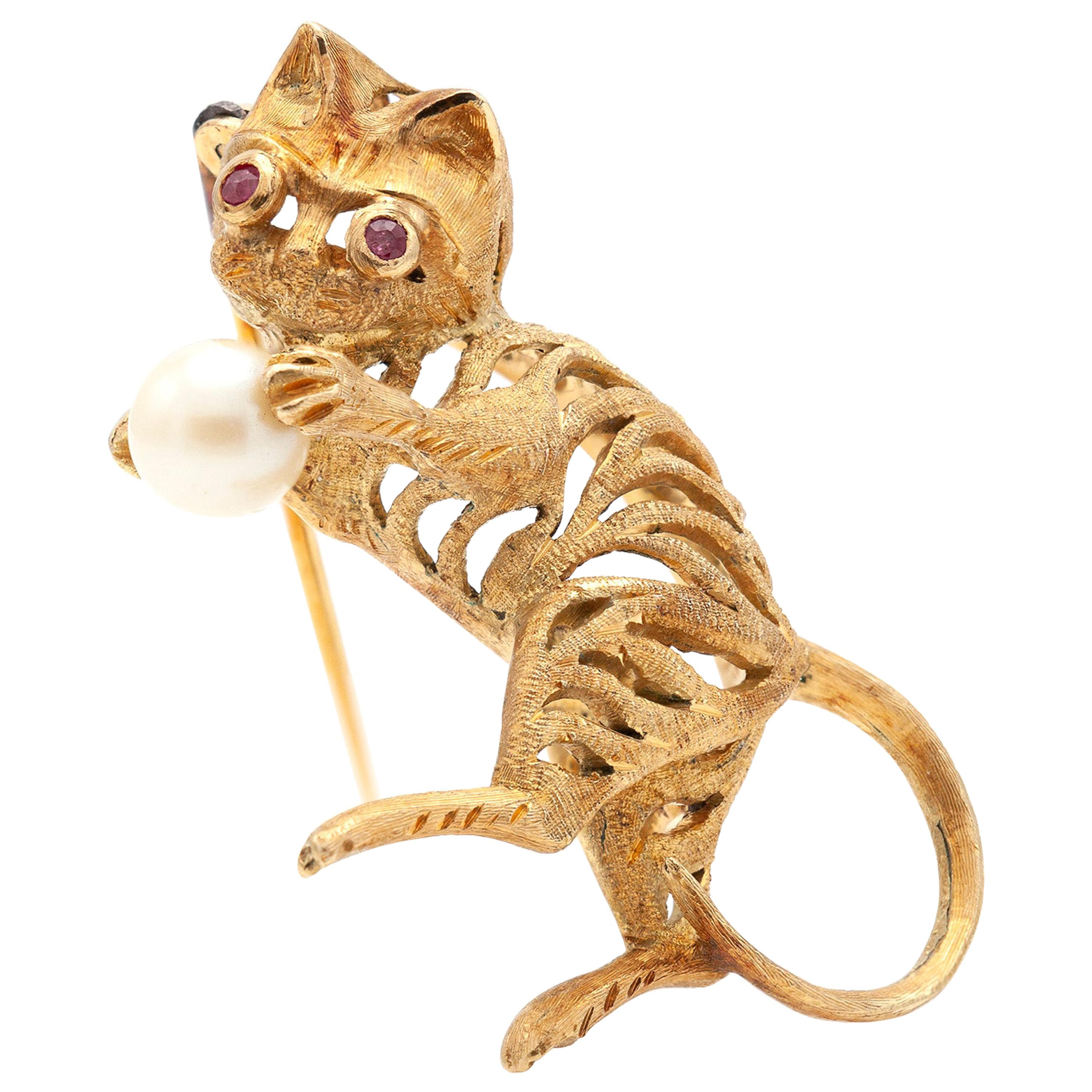 Pearl and Ruby Gold Cat Pin