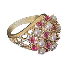 Pearl and Ruby Yellow Gold Cocktail Ring