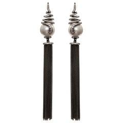 Ammanii Pearl and the Snake Black Rhodium Sahara Earrings with Tassels