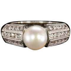 Pearl and White Diamonds Cathedral Cocktail 18 Carats White Gold Ring