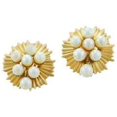 Pearl and Yellow Gold Round Wavy Earrings