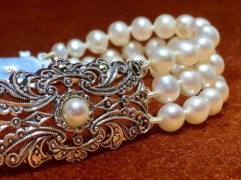 Art Deco Pearl Bracelet Antique Silver Ornament In As New Condition For Sale In 's-Hertogenbosch, NL