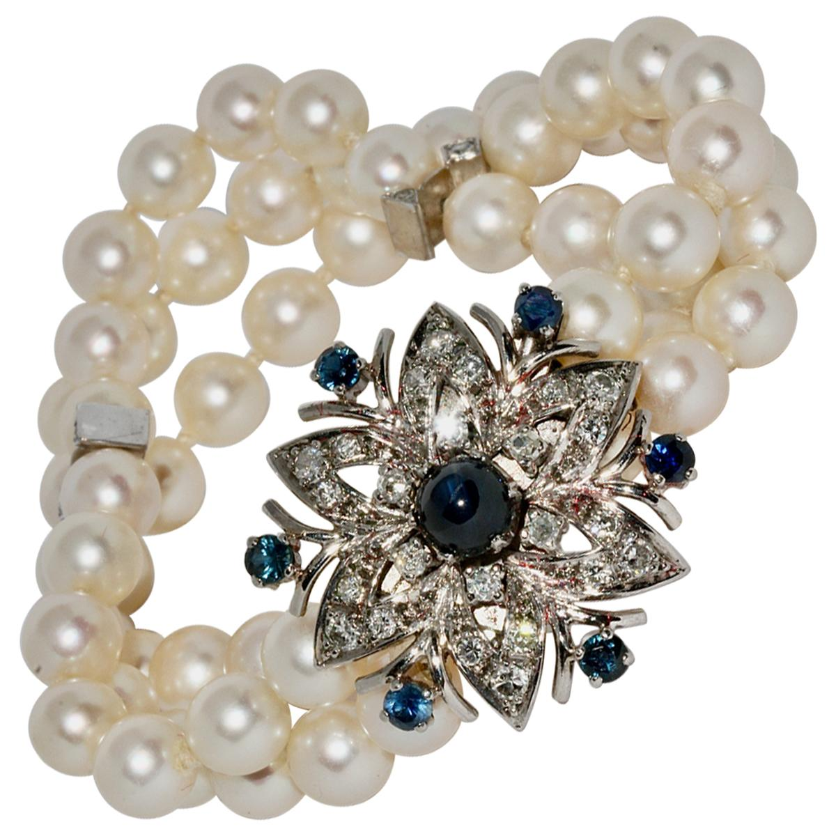 Pearl Bracelet with Large White Gold Clasp, Set with Sapphires and Diamonds