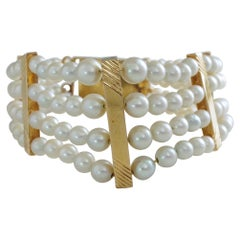 Pearl Bracelet with Persian Turquoise Clasp Midcentury