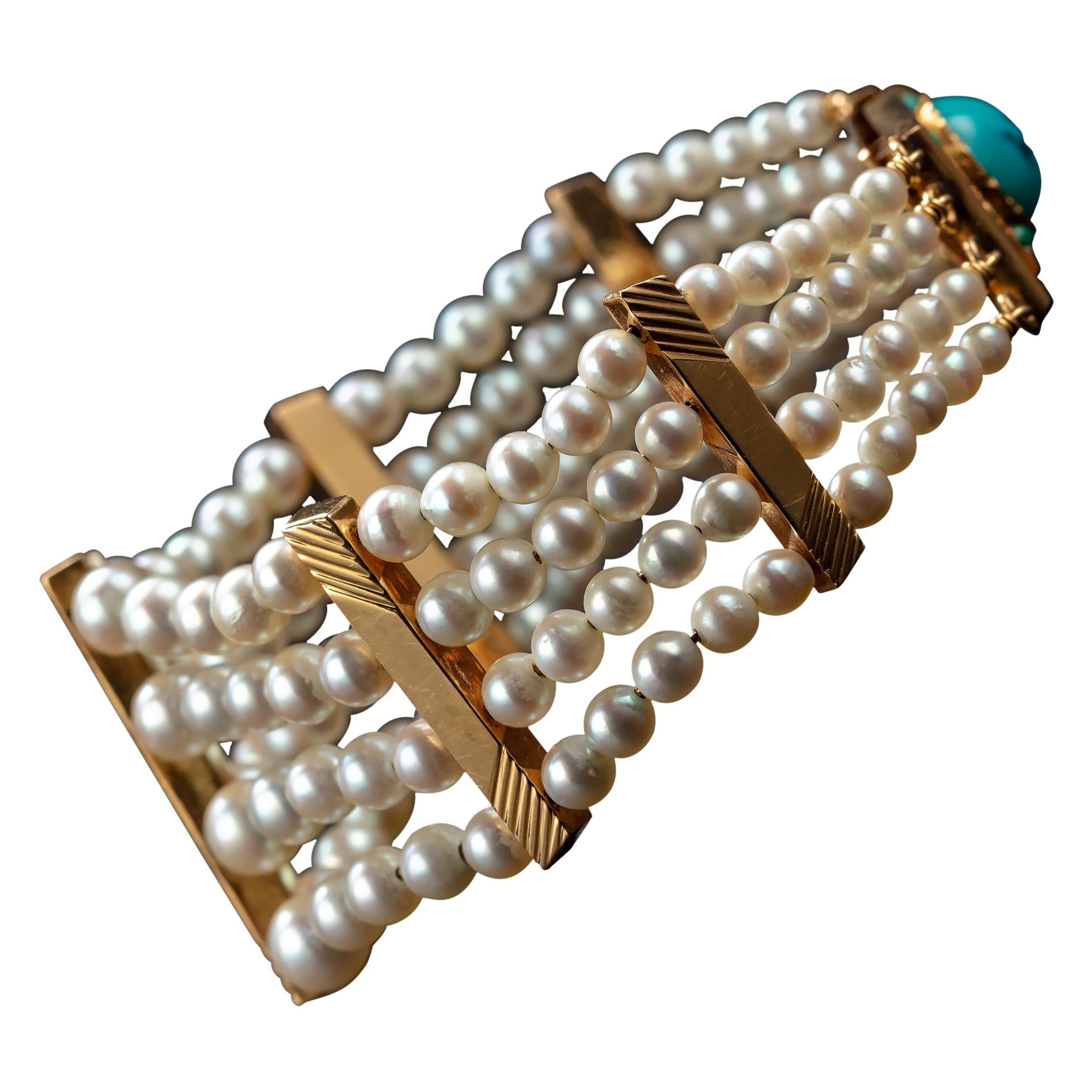 Pearl Bracelet with Turquoise Clasp Midcentury