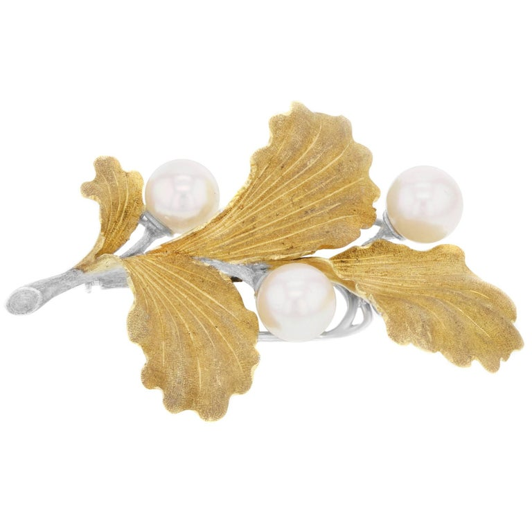 Pearl Brooche by Buccellati 18 Karat Yellow and White Gold