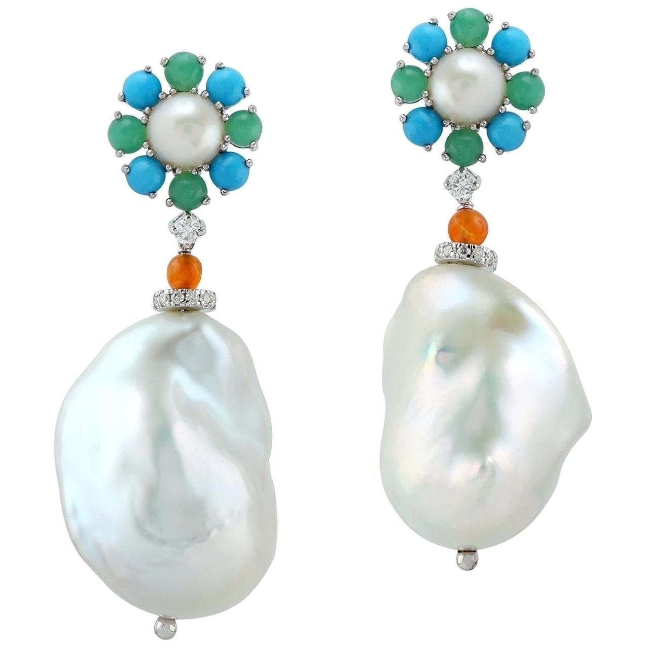 Pearl Chalcedony Diamond 18 Karat Gold Floral Earrings