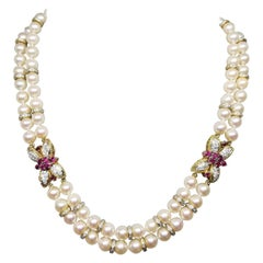 Pearl Choker-Necklace with 2 Clasps in 18k with Diamonds 5.50 Carat Adjustable