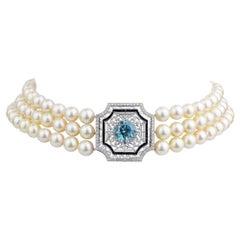 Pearl Choker with Belle Epoque Platinum, Zircon, Onyx and Diamond Panel
