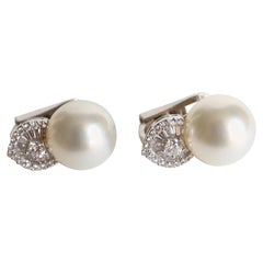 Pearl Clip Earrings 18 Carat White Gold Set with 0.9 Carat of Diamonds