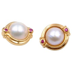 Pearl Clip On Earrings 14K Gold Ruby