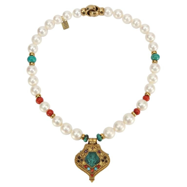 Pearl Coral and Turquoise Necklace with a Tibetan Gau Gilt Silver Pendant Estate For Sale