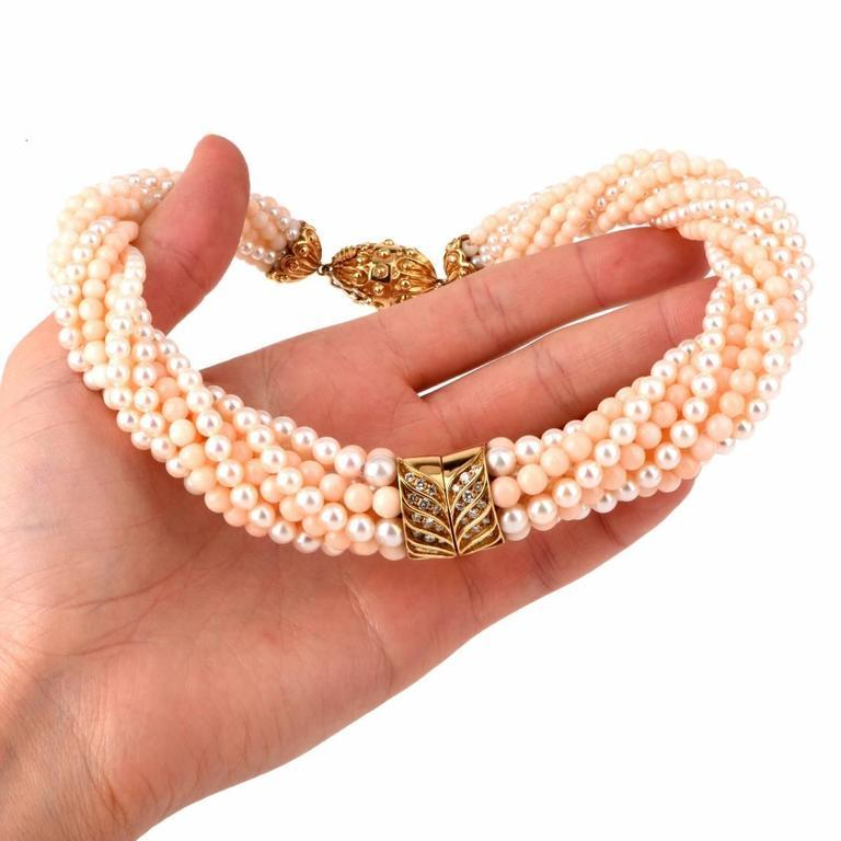 Retro Pearl Coral Beads Diamond 18 Karat Gold Choker Necklace For Sale