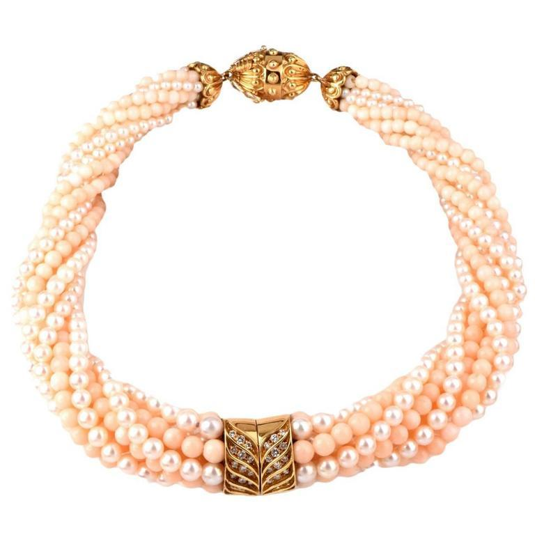 Pearl Coral Beads Diamond 18 Karat Gold Choker Necklace For Sale