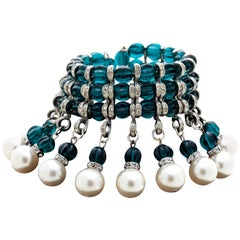 Pearl, Crystal and Green Glass Runway Bracelet by Julie Rubano