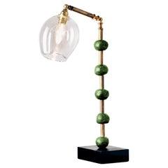 'Pearl' Desk Lamp, Brass, Slate, Green Pigmented Resin by Margit Wittig