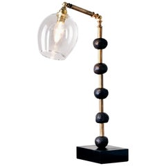 'Pearl' Desk Lamp, European, Brass, Slate, Bronze, Resin, Glass by Margit Wittig