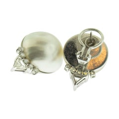 Pearl Diamond 14 Karat White Gold Earrings