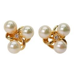 Pearl Diamond 14 Karat Yellow Gold Earrings