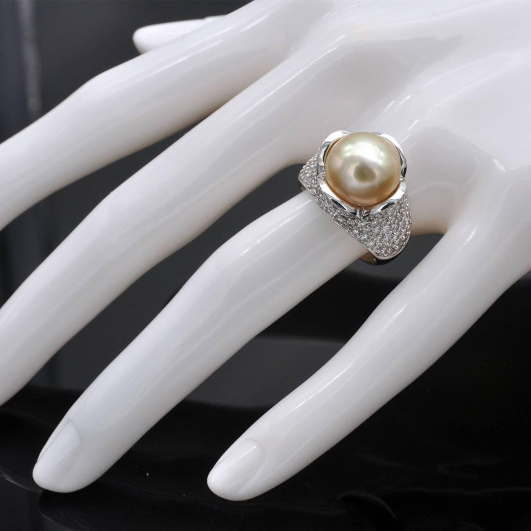 Pearl Diamond 18 Karat Gold Cocktail Ring In New Condition For Sale In Monte Carlo, MC