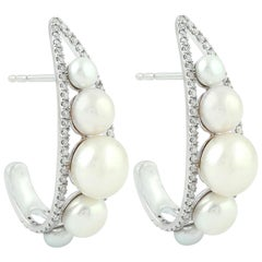 Pearl Diamond 18 Karat Gold Hoop Earrings