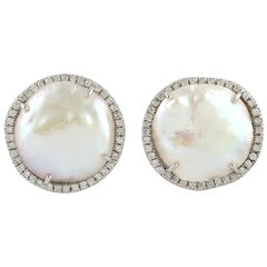 Pearl Diamond 18 Karat Gold Stud Earrings