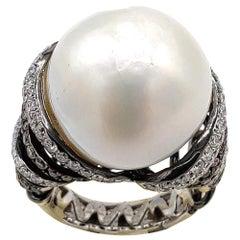 Pearl Diamond 18 Karat White Gold Bombe Ring