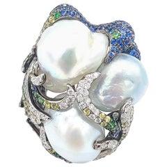 Pearl Diamond 18 Karat White Gold Statement Bombe Ring