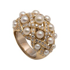 Pearl, Diamond and 18 Karat Gold Bombé Cocktail Ring