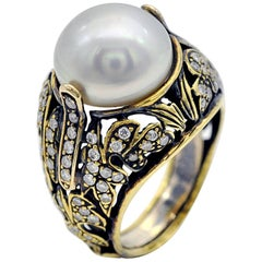 Pearl Diamond and Engraved 18 KT Gold Cocktail Ring